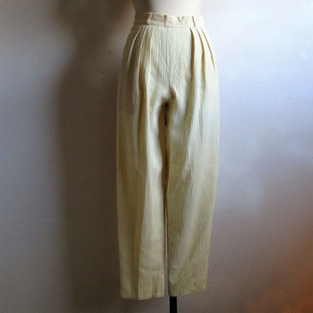 Cream Plisse 80s Trouser Vintage Textured Casual Spring Summer Ascot 1980s Pants 40