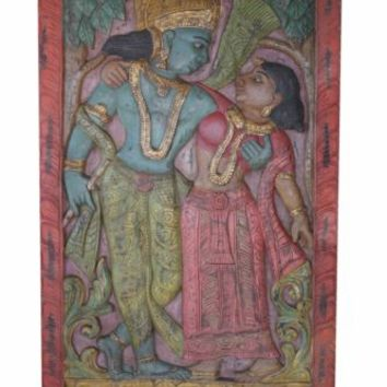 INDIAN CARVED Door PANEL COLORFUL Vintage Hand Carved Radha Krishna Divine Love