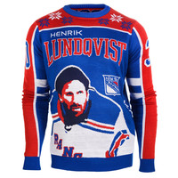 New York Rangers Henrik Lundqvist #30 2015 Player Ugly Sweater Size S-XXL w/ Priority Shipping