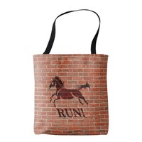 Horse running encouragement art tote bag
