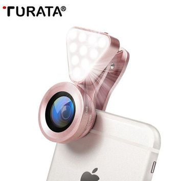 PEAP9 TURATA Luxury LED Selfie Flash Light Beauty Phone Lens Fill Light 0.4-0.6X Wide Angle+10X Macro Lens for Smartphone