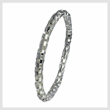 925 Sterling Silver Plated Mesh Chain Stretch Bracelet (Silver 6mm Box Links)