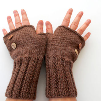 Handmade Knitting Fingerless Gloves . Fashion . Girls Women . Valentines Day . Love. Brown