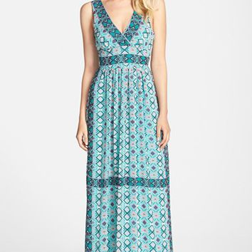 Women's FELICITY & COCO Border Print Chiffon Maxi Dress ,