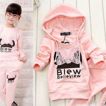 US SELL Baby Girl Kid Hodded Hoodies Clothes T-Shirt Pants Sportswear Outfit Set