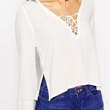 White V-Neck Lace Tie Bell Sleeve Top