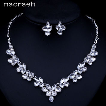 Mecresh Gorgeous Leaves Crystal Bridal Jewelry Sets Silver Color Water Drop Earrings Necklace Wedding Accessories TL262