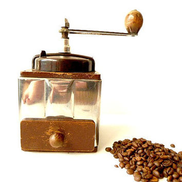 Vintage French Peugeot coffee grinder .