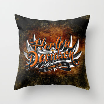 Harley motorcycle with Eagle Typograph Decorative cushion Throw Pillow case by Three Second