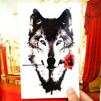 Tattoo Sticker Grey Wolf Temporary