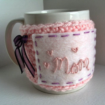 Mothers Day Coffee Cozy Crochet Cup Sleeve by JMcnallyDesigns