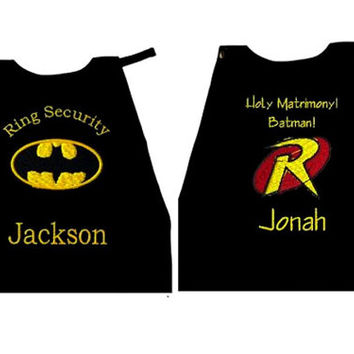 Boy's Ring Bearer Batman & Robin Capes,  Embroidered Ring Bearer Cape Personalized Wedding Photo Op