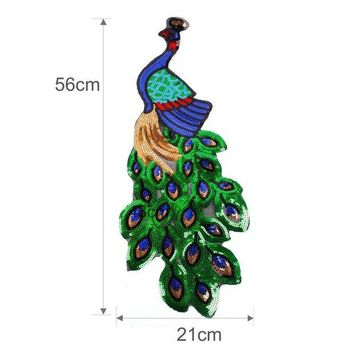 ONETOW FENGRISE Sequin Embroidery Peacock Patch Sewing On