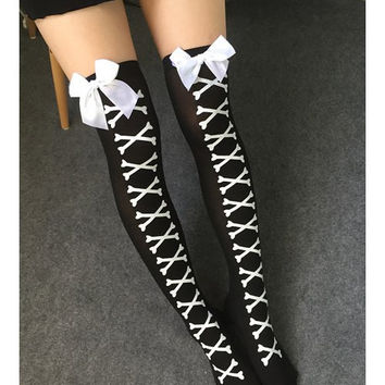 Stylish Bowknot Decorated Cross Bone Pattern Stockings FREE SHIPPING !!!