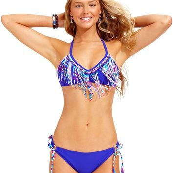 Hula Honey Fringed Bikini Top & Side-Tie Bottoms