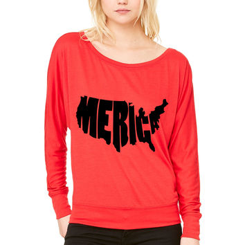 Merica United States USA WOMEN'S FLOWY LONG SLEEVE OFF SHOULDER TEE