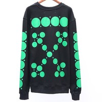 OFF-WHITE Early Spring New Tide brand wave point circle arrow round neck thin section long sleeve sweater