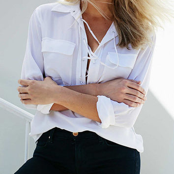 White Lace Up with Chest Pockets Chiffon Blouse