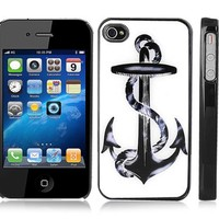 Black Plastic Snap-On Case Cover for iPhone 4/4S - Rope and Anchor on White Background