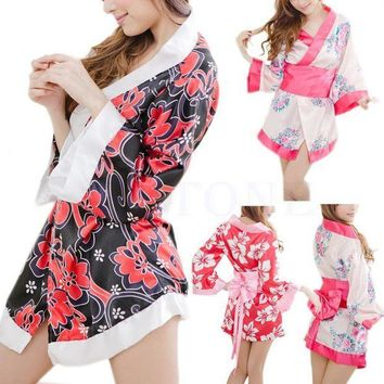 ESBIJ6 Sexy Floral Japanese Kimono Stage Sleepwear Lingerie Dress Bath Robe Nightgown