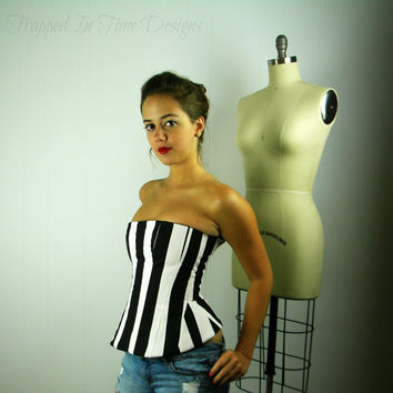 Bustier Top, Striped Top, Striped Corset, Striped Bustier, Black and White Stripe, Corset