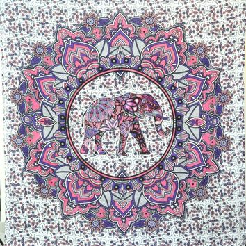 Elephant Tapestry Colored Printed Decorative Mandala Tapestry Indian square Belgium wall tapestry wall hanging 145*145cm