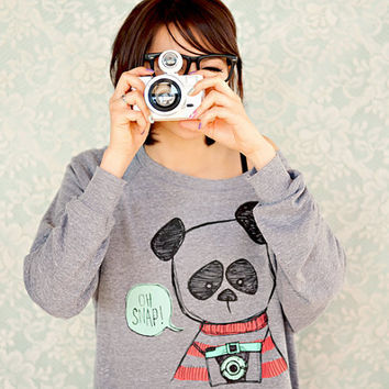 Hipster Panda Womens Raglan Sweater  Heather Grey  by steppie