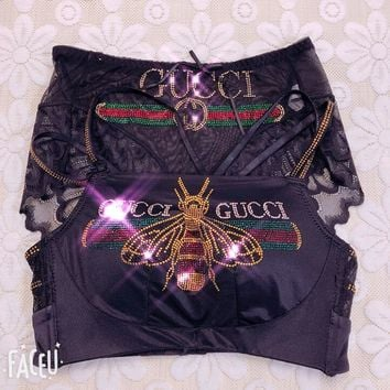 2018 Hot!GUCCI Trending Women Sexy Shiny Stylish Letter Bee Diamond Pattern Lace Bra Underwear Underpants Top Vest Two Piece Suit Black I12331-1