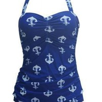 Exclusive Underwire Plus Size Anchor Swimsuit One-Piece