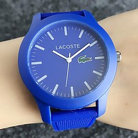 Lacoste Popular Woman Men Simple Quartz Movement Wristwatch Silicone Watch(6-Color) Blue I-H-JH