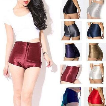 High Waisted Shiny Stretch Shorts