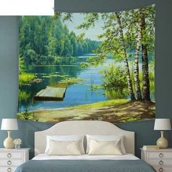 Trees And River Nature Wall Decor Tapestry