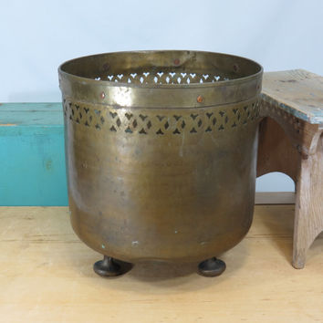 Large Solid Brass Footed Planter . Handmade . Copper Rivets . Cutouts . Hammered . Italy . Vintage