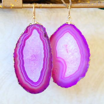 Pink Magenta Agate Slice Earrings - Agate Earrings - Agate Druzy Earrings - Agate Geode Earrings - Druzy Earrings