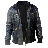 Black Hooded Hoodie Leather Jacket