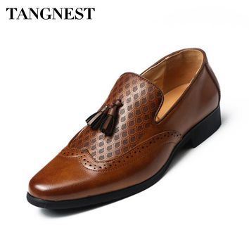 Tangnest Bussiness PU Leather Fringe Dress Shoes Man 2018 New Retro British Brogue Shoes Pointed Toe Fashion Man Shoes XMP850