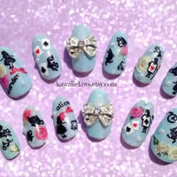 Alice in Wonderland themed 3D Nail Art False Fake nails with pearls and bows lolita