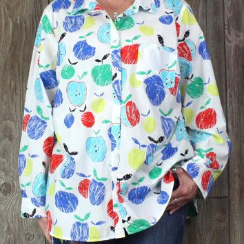 Talbots Blouse 3x size White Blue Multicolor Apples Womens Plus Cotton