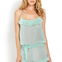 FOREVER 21 Chiffon Dot Ruffled Romper Mint/Black Small
