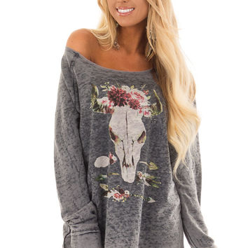 Charcoal Mineral Wash Long Sleeve Top with Floral Skull