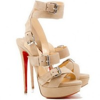 Christian Louboutin Toutenkaboucle 150mm Buckle Sandals Beige