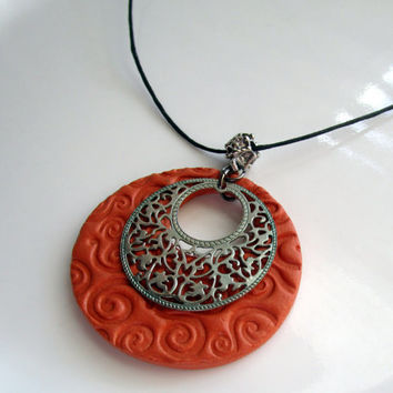 Aromatherapy Oil Diffuser Necklace Womens Earthtone Clay Pendant with Silver Filigree Medallion on Hemp Cord