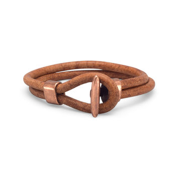 "Men's Leather and Copper 9"" Bracelet"