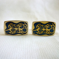 Cuff Links for Men, Blue and Gold Thermoset Cufflinks , Jewelry for Men