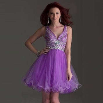 Short Purple Homecoming Dress Ruched Beaded Vestido Curto Junior Prom Sweet 16 Short Dresses Vestido 15 Anos Curto V Backless