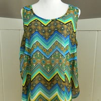 Side Split Chevron Tank (Plus Size)