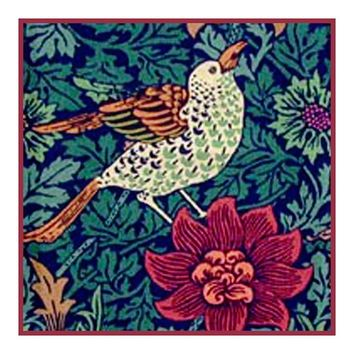 Bird Red Anemone Flower detail by William Morris Design Counted Cross Stitch or Counted Needlepoint Pattern