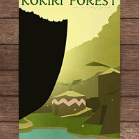 12 x 18 Legend of Zelda Inspired Kokiri Forest Print