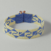 Incan Indian Motif Bead Loom Bracelet - Blue White - Native American Style - Boho Jewelry - Hippie Chic - Beadwoven Cuff - American - Copper