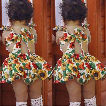 Baby Dress 2Pcs Infant Newborn Baby Girls Floral Print Sunflower Dresses Shorts Set Otufits Summer Sleeveless Clothes set 2018
